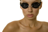 Beautiful young woman with goggles poster