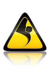 Symbole de danger tornade (reflet métal)