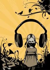 psycho girl with headphones over her head
