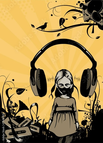 psycho girl with headphones over her head