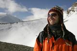 mountaineer enjoying the summit after a climb up , annapurna,  poster