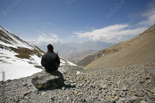 poster of man admiring view in the himalayas, annapurna, nepal