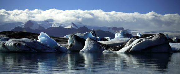 Panoramic view of icebergs and glaciers