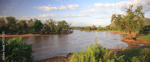 Panoramic view of Ewaso Nyiro River