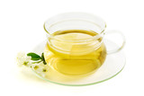 Herbal tea with lemon  on white background.  poster