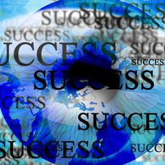 Human pupil with 'success'
