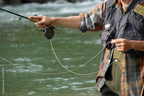 Fotobehang Vissen Pêche à la mouche