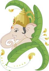 Ganesh in leaf background