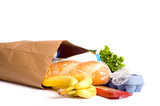 Bag of Groceries on WHite poster
