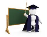Teacher by blackboard poster