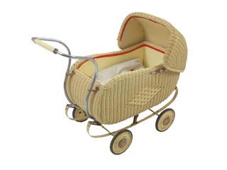 Antiker Korb-Kinderwagen