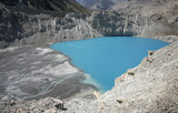 panoramic view of blue lake in the himalayas, nepal poster
