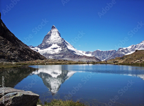 Leinwanddruck Bild Ein Bergsee und sein Mythos - Matterhorn