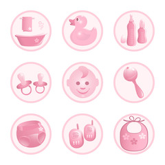 Baby-Icons in pink. Vector-Illustration