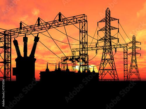 Leinwanddruck Bild Transformer over orange sky