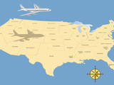 Travel conceptual illustration: a plane flying over USA map