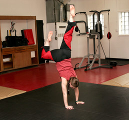 martial arts woman handstand