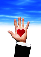 Love heart on hand
