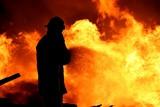 Fireman fighting a fire