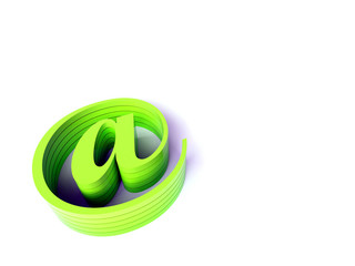 3d green email sign. Rendered image.