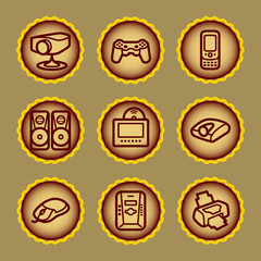 Brown contour web icons, set 21