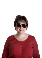 Woman in Red Smiling in Sunglasses