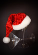 Santa Hat on Martini Glass