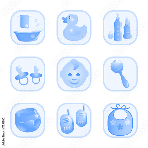 Baby-Icons in blue. Vector-Illustration