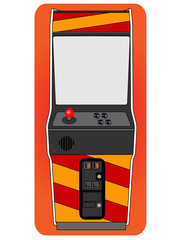 Classic arcade cabinet, old fashion gaming machine.