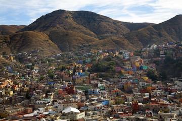 Many Colored Houses Guanajuato Mexico Hill Blue Sky