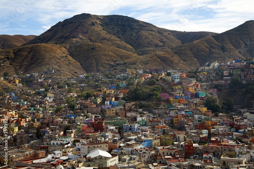 Many Colored Houses Guanajuato Mexico Hill Blue Sky