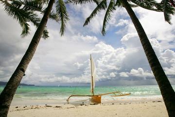 Paraw boat on Boracay Island, Philippines