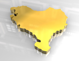3d golden map of basque