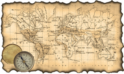 Ancient map of the world. Compass