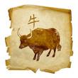 Ox  Zodiac icon, isolated on white background.