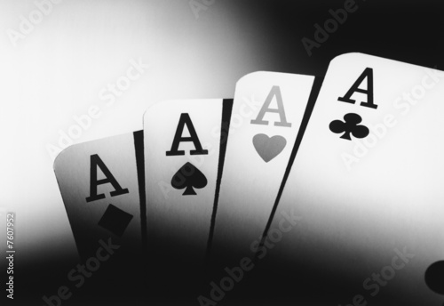 Four aces, b&w, close-up