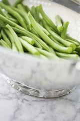 Metal bowl of green beans