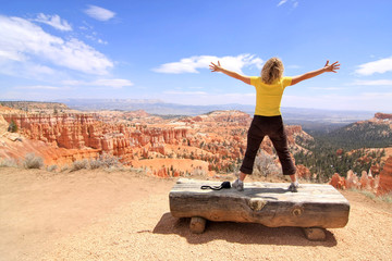 Girl enjoying landscape in Bryce Canyon