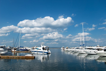 Harbour on the sea with yachts