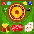 Сasino elements: roulette, chips, dice, cards