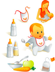 Icon set - baby feeding. Breast-feeding, bib, nursing-bottle