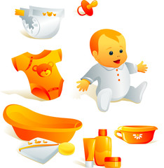 Icon set - baby hygiene. Bath, bodysuit, nappy, cosmetics