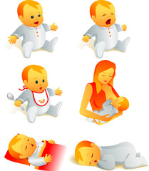 Icon set - baby cry, smile, eat, sleep, breast-feeding. Vector