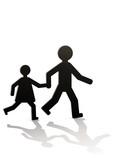 Parent et son enfant à pied poster