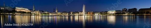 Hamburg, Binnenalster zur blauen Stunde