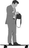 gray scale skateboard commuting vector illustration  poster