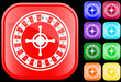 Icon of roulette wheel on shiny square buttons