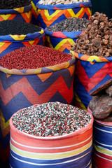 Eastern spicy in sacks on the bazaar
