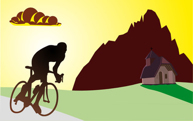 Ciclista in montagna