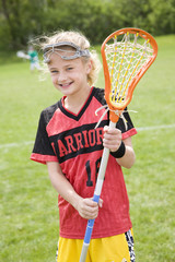 Smiling lacrosse player